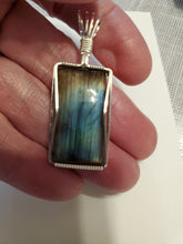 Load image into Gallery viewer, Custom Wire Wrapped Labradorite Necklace/Pendant in Sterling Silver