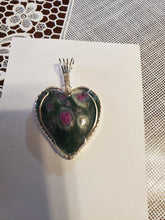 Load image into Gallery viewer, Custom Wire Wrapped Ruby & Fuchsite Necklace/Pendant Sterling Silver