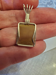 Custom Wire Wrapped unpolished Hokie Stone VA Tech Necklace/Pendant Sterling Silver