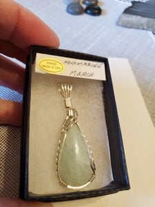 Custom Wire Wrapped Aquamarine Necklace/Pendant Sterling Silver
