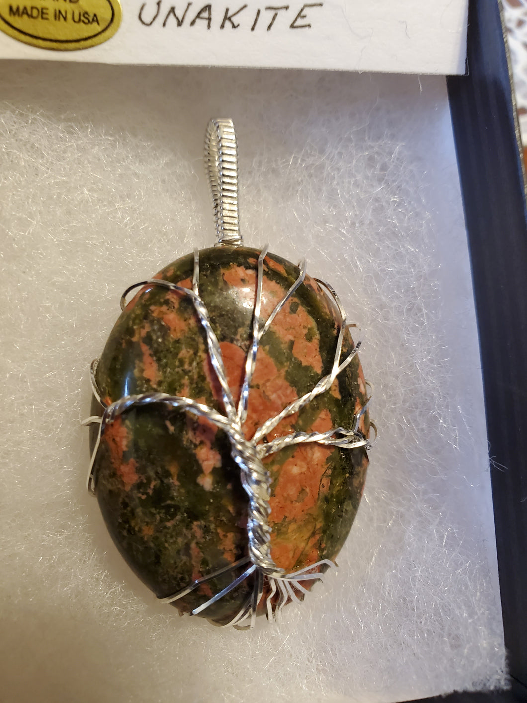 Custom Wire Wrapped Unakite Tree Of Life Necklace/Pendant Sterling Silver