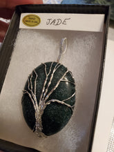 Load image into Gallery viewer, Custom Wire Wrapped Jade Tree Of Life Necklace/Pendant Sterling Silver