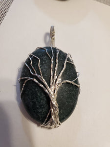 Custom Wire Wrapped Jade Tree Of Life Necklace/Pendant Sterling Silver
