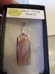 Custom Wire Wrapped Aqua Nueva Necklace/Pendant Sterling Silver