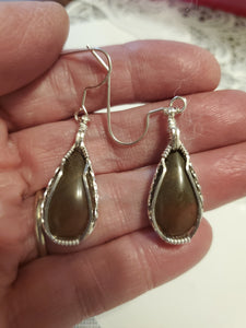 Custom Wire Wrapped Rock Collected From Nancy Hanks Birthplace Set Earrings, Necklace/Pendant Sterling Silver
