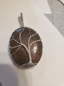 Custom Wire Wrapped Rock Collected From Nancy Hanks Birthplace Tree of Life Necklace/Pendant Sterling Silver