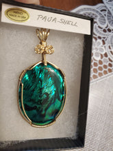 Load image into Gallery viewer, Custom Wire Wrapped Green Paua Shell Necklace/Pendant 14kgf