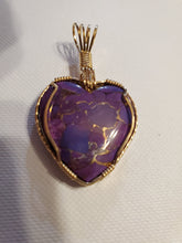 Load image into Gallery viewer, Custom Wire Wrapped Mojave Purple Turquoise & Copper Necklace/Pendant 14Kgf