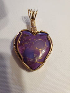 Custom Wire Wrapped Mojave Purple Turquoise & Copper Necklace/Pendant 14Kgf