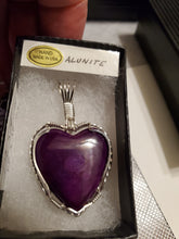 Load image into Gallery viewer, Custom Wire Wrapped Purple Alunite Heart Necklace/Pendant Sterling Silver
