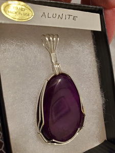 Custom Wire Wrapped Purple Alunite Necklace/Pendant Sterling Silver