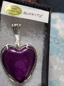 Custom Wire Wrapped Purple Alunite Heart Necklace/Pendant Sterling Silver
