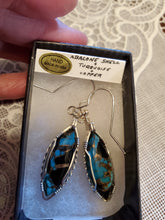 Load image into Gallery viewer, Custom Wire Wrapped Abalone Shell Turquoise & Copper Earrings Sterling Silver
