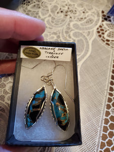 Custom Wire Wrapped Abalone Shell Turquoise & Copper Earrings Sterling Silver