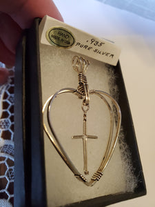 Custom Wire Wrapped Double Heart with Floating Cross Necklace/Pendant in Sterling Silver
