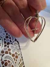 Load image into Gallery viewer, Custom Wire Wrapped Double Heart with Floating Cross Necklace/Pendant in Sterling Silver