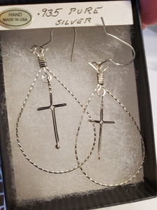 Custom Wire Wrapped Twisted Looped Cross Earring in Sterling Silver Wire