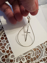 Load image into Gallery viewer, Custom Wire Wrapped Twisted Looped Cross Earring in Sterling Silver Wire