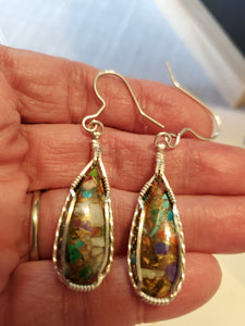 Custom Wire Wrapped Multi Copper Shell & Turquoise Earrings Sterling Silver