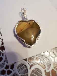 Custom Wire Wrapped Blue Mountain Jasper Heart Necklace/Pendant Sterling Silver