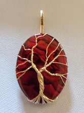 Load image into Gallery viewer, Custom Wire Wrapped Red Paua Shell Tree of Life Necklace/Pendant 14kgf