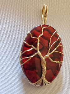 Custom Wire Wrapped Red Paua Shell Tree of Life Necklace/Pendant 14kgf