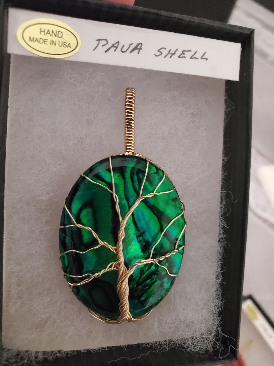 Custom Wire Wrapped Green Paua Shell Tree of Life Necklace/Pendant 14kgf