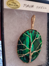 Load image into Gallery viewer, Custom Wire Wrapped Green Paua Shell Tree of Life Necklace/Pendant 14kgf