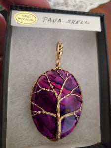 Custom Wire Wrapped Purple Paua Shell Necklace/Pendant 14Kgf