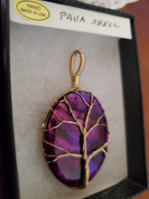 Load image into Gallery viewer, Custom Wire Wrapped Purple Paua Shell Necklace/Pendant 14Kgf