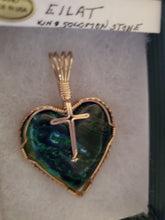 Load image into Gallery viewer, Custom Wire Wrapped Eilat Stone Heart with Cross Necklace/Pendant 14kgf