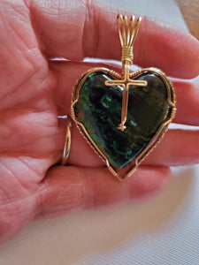 Custom Wire Wrapped Eilat Stone Heart with Cross Necklace/Pendant 14kgf