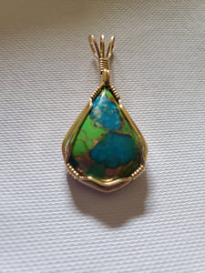 Custom wire wrapped Mojave Green Turquoise & Copper  Necklace/Pendant 14kgf