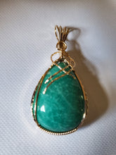 Load image into Gallery viewer, Custom Wire Wrapped Amazonite Virginia Gemstone Necklace/Pendant 14Kgf