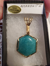Load image into Gallery viewer, Custom Wire Wrapped Amazonite AAA+ Quality Virginia Gemstone Necklace/Pendant 14kgf