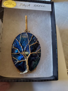 Custom Wire Wrapped Blue Paua Shell Tree of Life in 14Kgf Necklace/Pendant