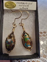 Load image into Gallery viewer, Custom Wire Wrapped Turquoise Oyster & Copper  Earrings 14Kgf