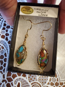 Custom Wire Wrapped Turquoise Oyster & Copper  Earrings 14Kgf