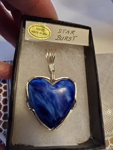 Custom Wire Wrapped Star Burst Heart Necklace/Pendant Sterling Silver