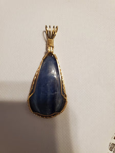 Custom Wire Wrapped Kyanite Necklace/Pendant 14Kgf