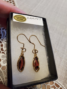 Custom Wire Wrapped Faceted Garnet 3.9 ct. Earrings 14Kgf