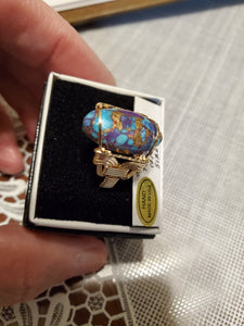 Custom Wire Wrapped Purple Mojave Turquoise & Copper 14Kgf Ring Size 8