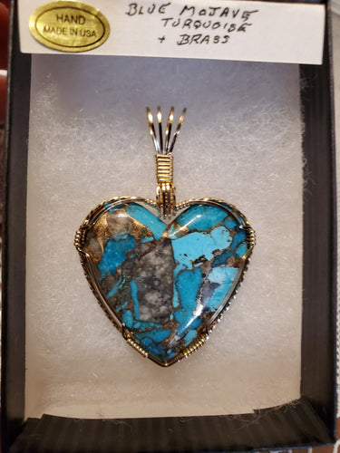 Custom Wire Wrapped Blue Mojave Turquoise & Brass Heart Necklace/Pendant 14Kgf
