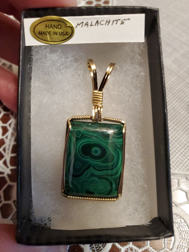 Custom Wire Wrapped Malachite Necklace/Pendant 14 Kgf