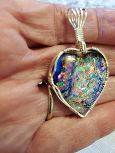 Custom Wire Wrapped Dichroic Glass Heart Necklace/Pendant Sterling Silver