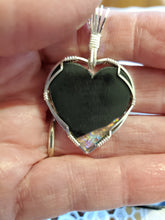 Load image into Gallery viewer, Custom Wire Wrapped Dichroic Glass Heart Necklace/Pendant Sterling Silver