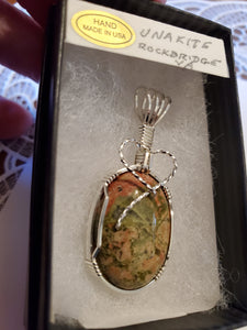 Custom Wire Wrapped Unakite Necklace/Pendant Sterling Silver