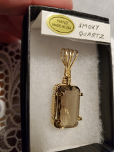 Load image into Gallery viewer, Custom Wire Wrapped Faceted Smokey Quartz Necklace/Pendant 14Kgf