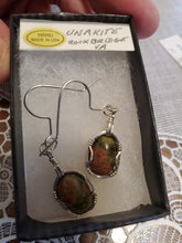 Load image into Gallery viewer, Custom Wire Wrapped Unakite from Rockbridge County VA. Earrings Sterling Silver