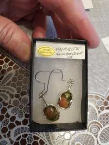 Custom Wire Wrapped Unakite from Rockbridge County VA. Earrings Sterling Silver